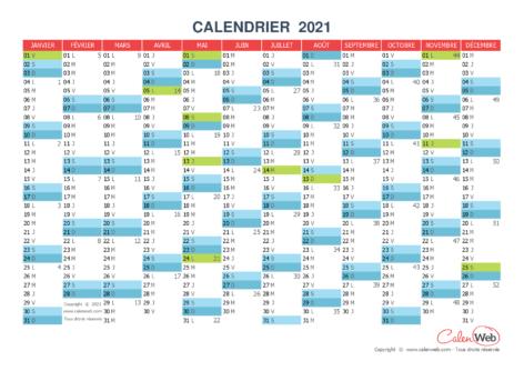 Calendrier annuel – Année 2021 avec jours fériés