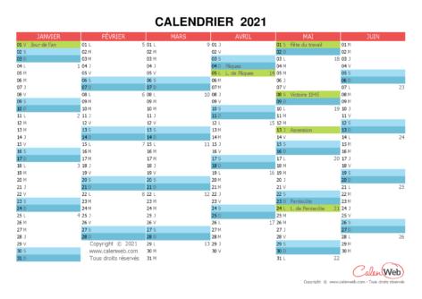 Calendrier semestriel – Année 2021 avec affichage des jours fériés